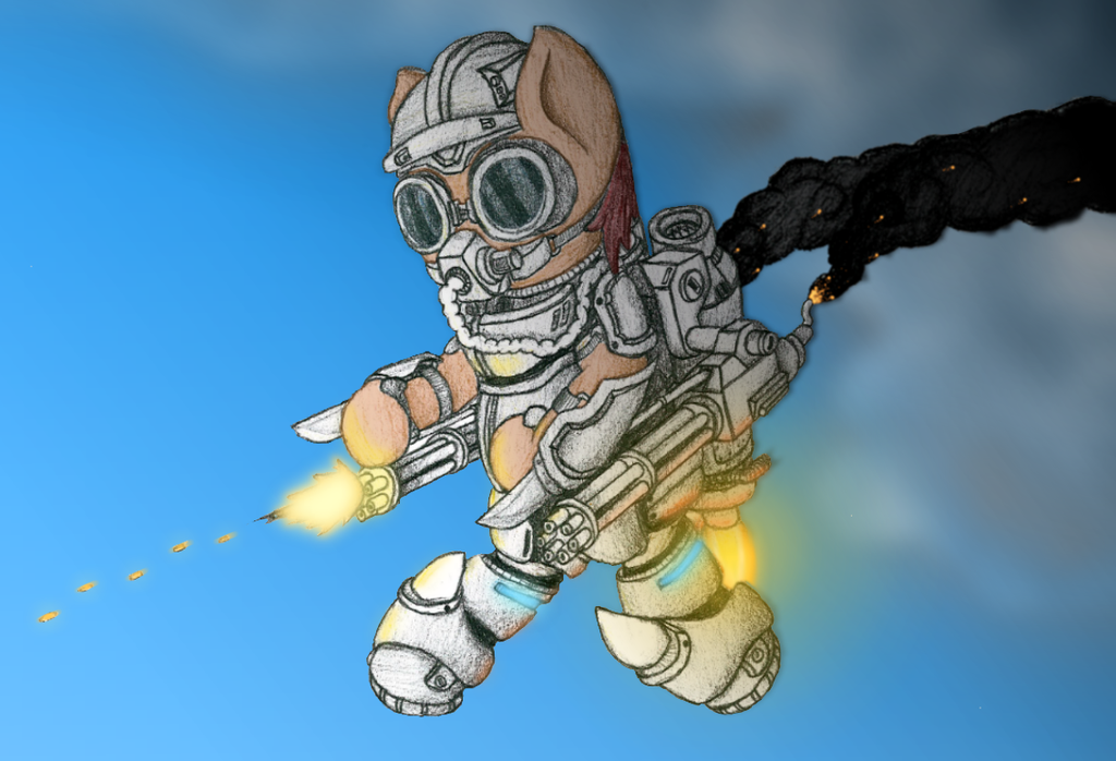 [A3] Sci-Fi Aerial Assault Earthbound Pony by Brantonisme