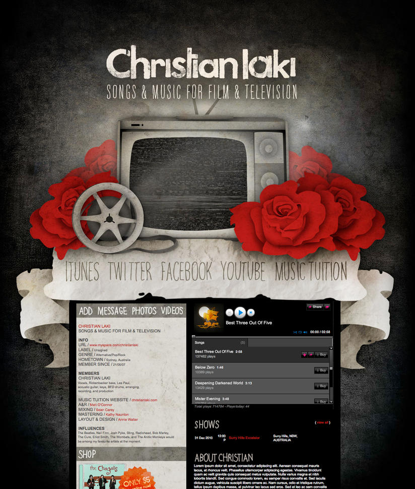 Myspace Layout -Christian Laki by my-name-is-annie