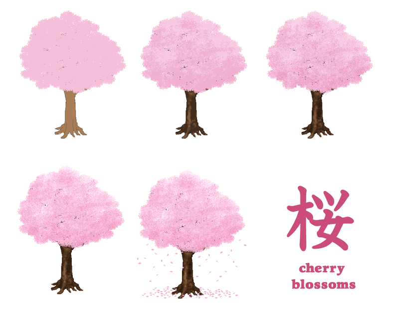 cherry blossoms pixel art by M-seiran
