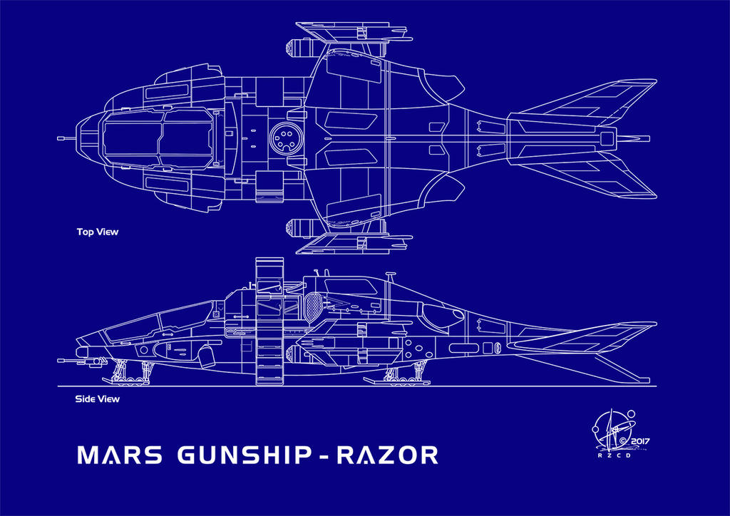 Blueprint Gunship Razor Landingmode Topview by Paul-Muad-Dib