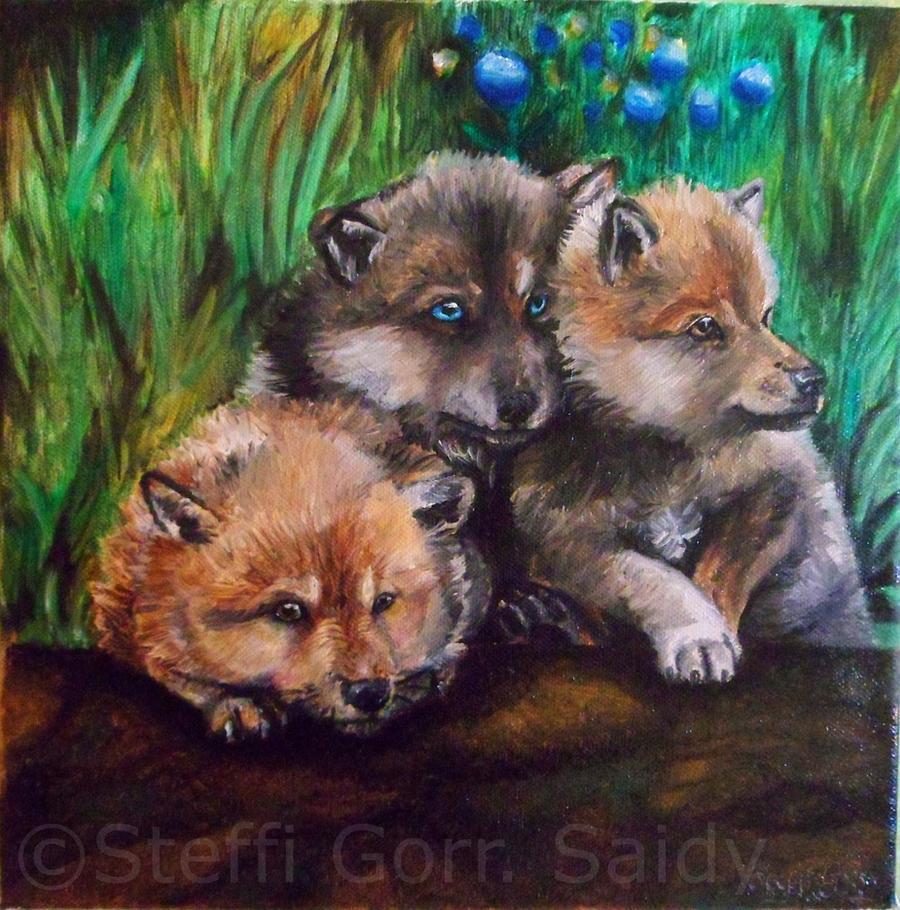 Wolf puppies by SaidyWolf