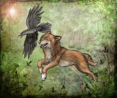 Henva and Raven by SaidyWolf
