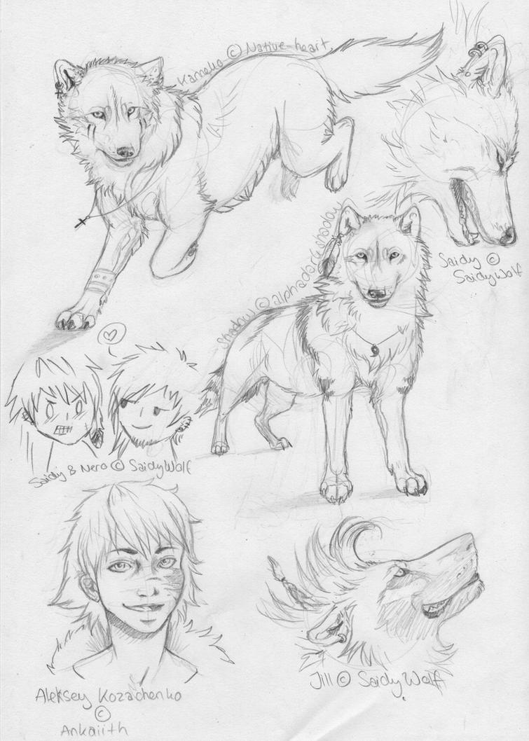 Sketch Dump Commissions 4 by SaidyWolf