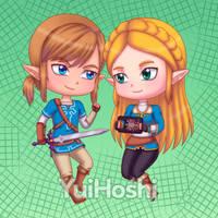 Zelda and Link chibi by YuiHoshi