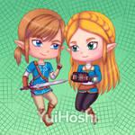 Zelda and Link chibi