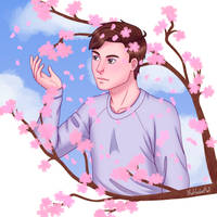 Peter with Cherry Blossoms