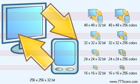 PC-PDA synchronization Icon by phorago