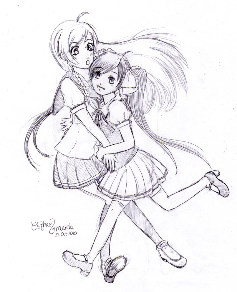 anime sisters coloring pages-#6
