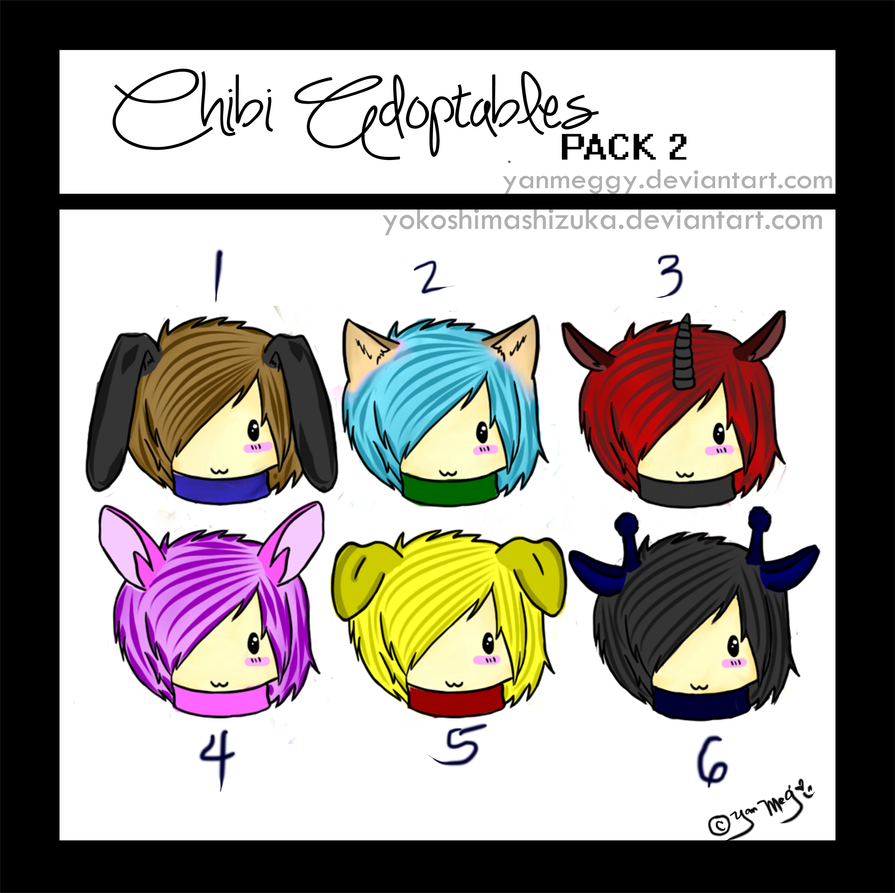 Chibi Adoptables: Pack 2 by akadiaknight17