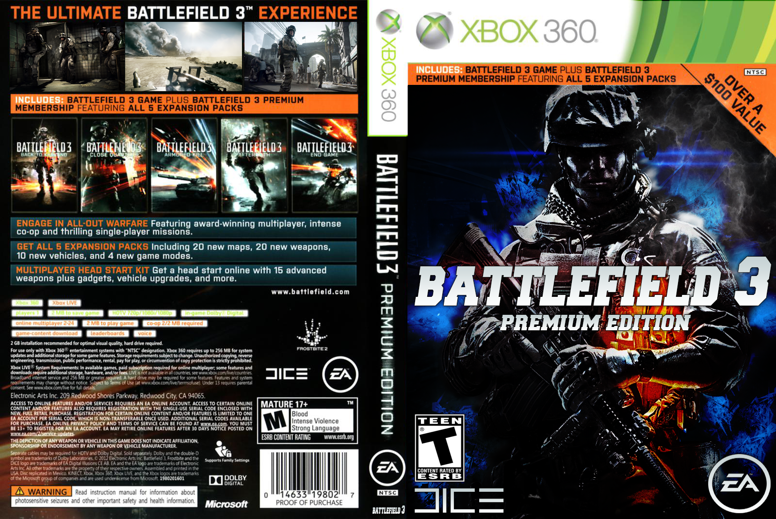 Battlefield 3 Premium Xbox 360 Custom Cover by ... Xbox 360 Game Cover Art