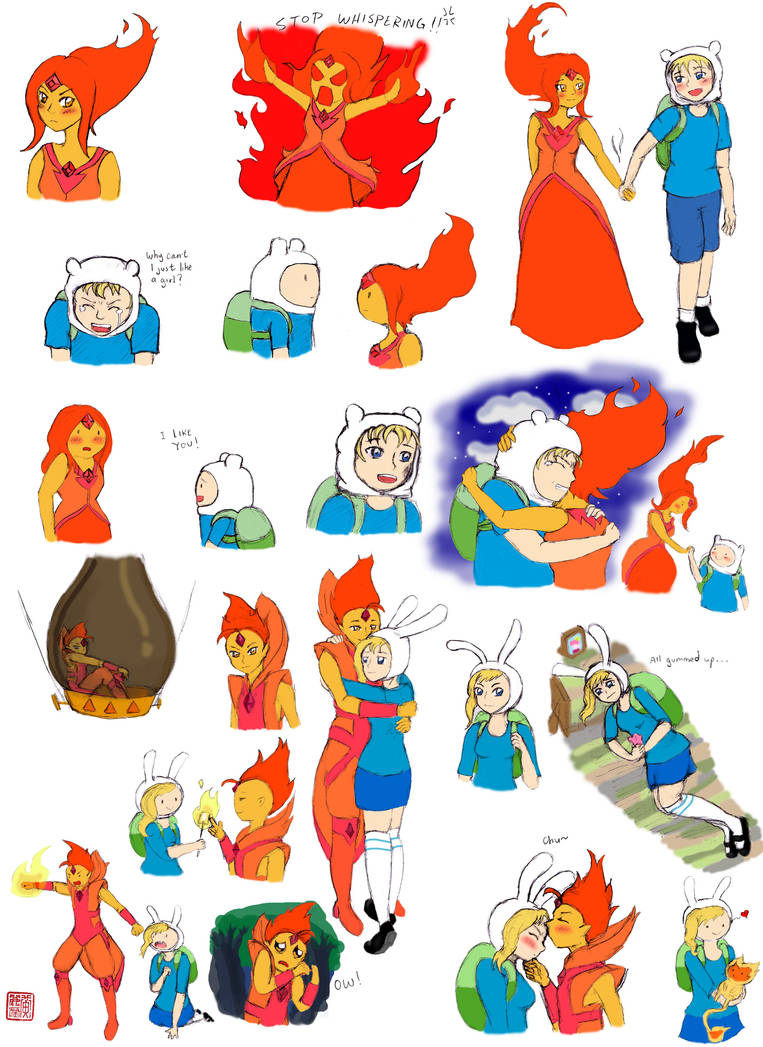 Adventure Time- Flinn and Flameona Skecthes by mini-sanada