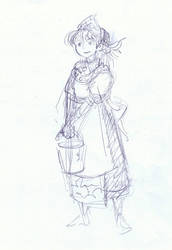 Anime style peasant girl (sketch)