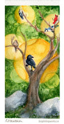 Watercolour Sketch - Birds in the Brush by brightling