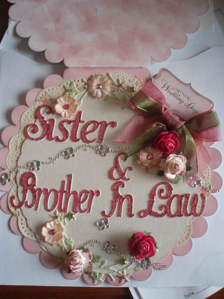 papercraft wedding card sister brother in law by forget me nots