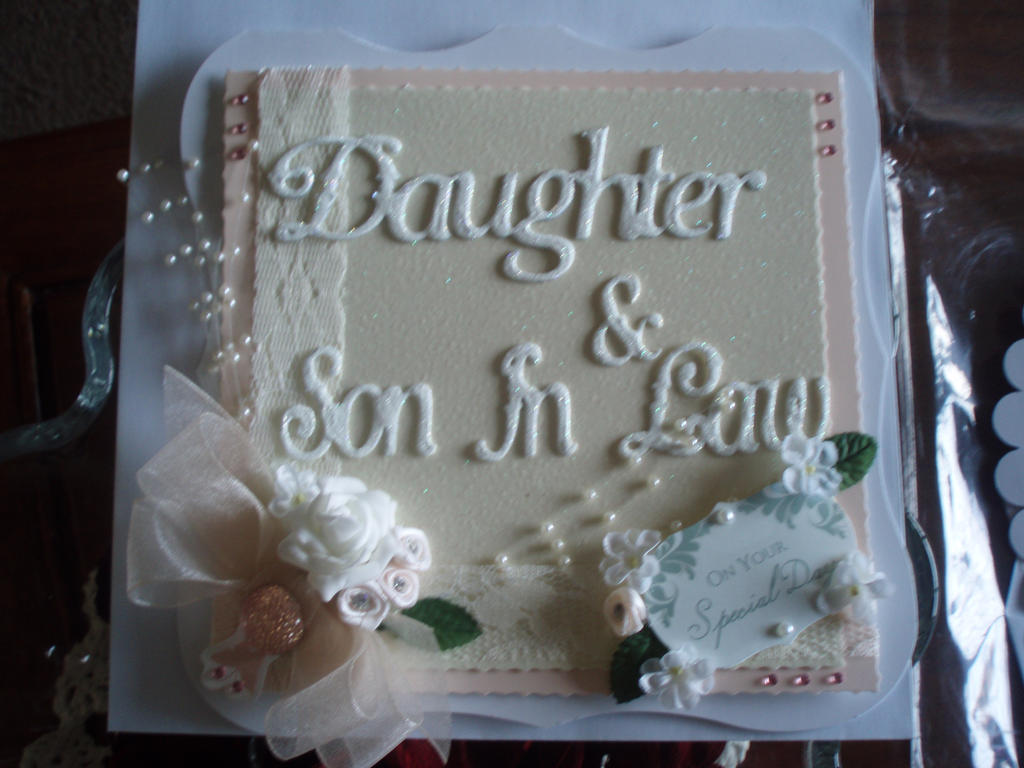 Papercraft wedding card daughter son in law by forget me nots