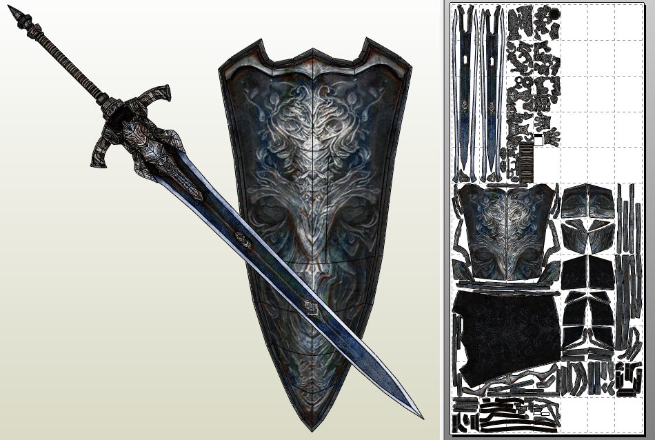 Greatsword+shield of Artorias (untainted) PDO/PDF