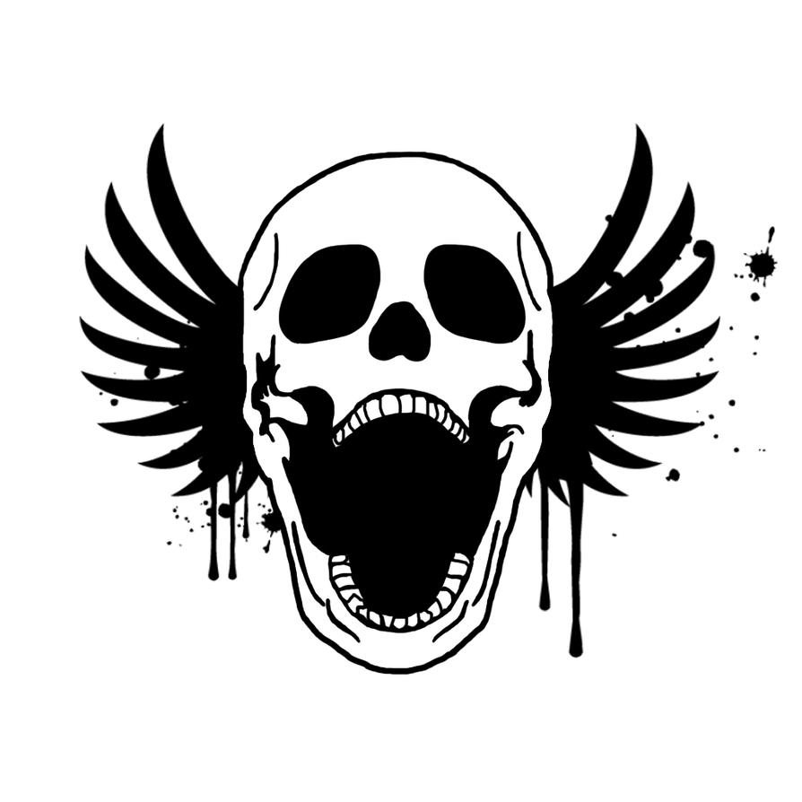 Winged Screaming Skull by Stoiv-the-BadPwny on DeviantArt Skulls And Wings Drawings