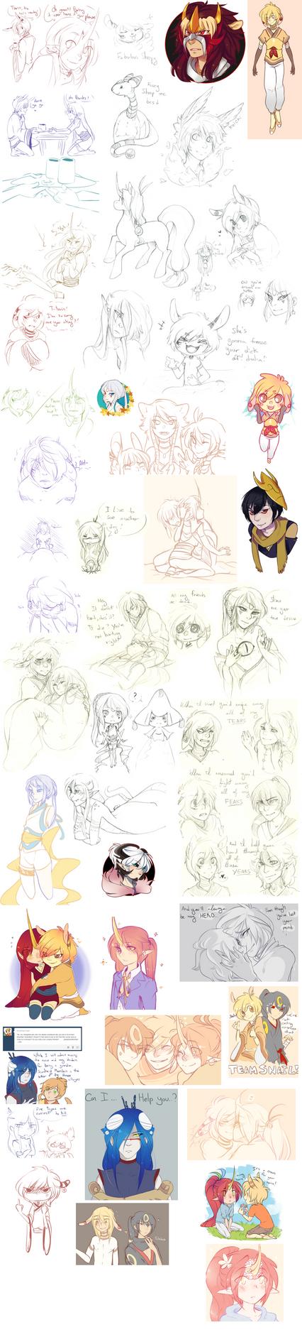 Pokimono Sketch Dump 6 by loverofscythe