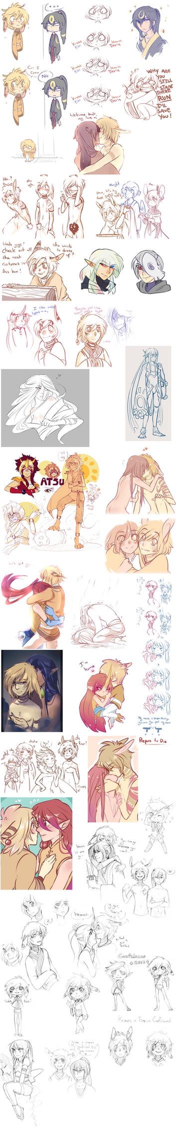Pokimono Sketch Dump 5 by loverofscythe