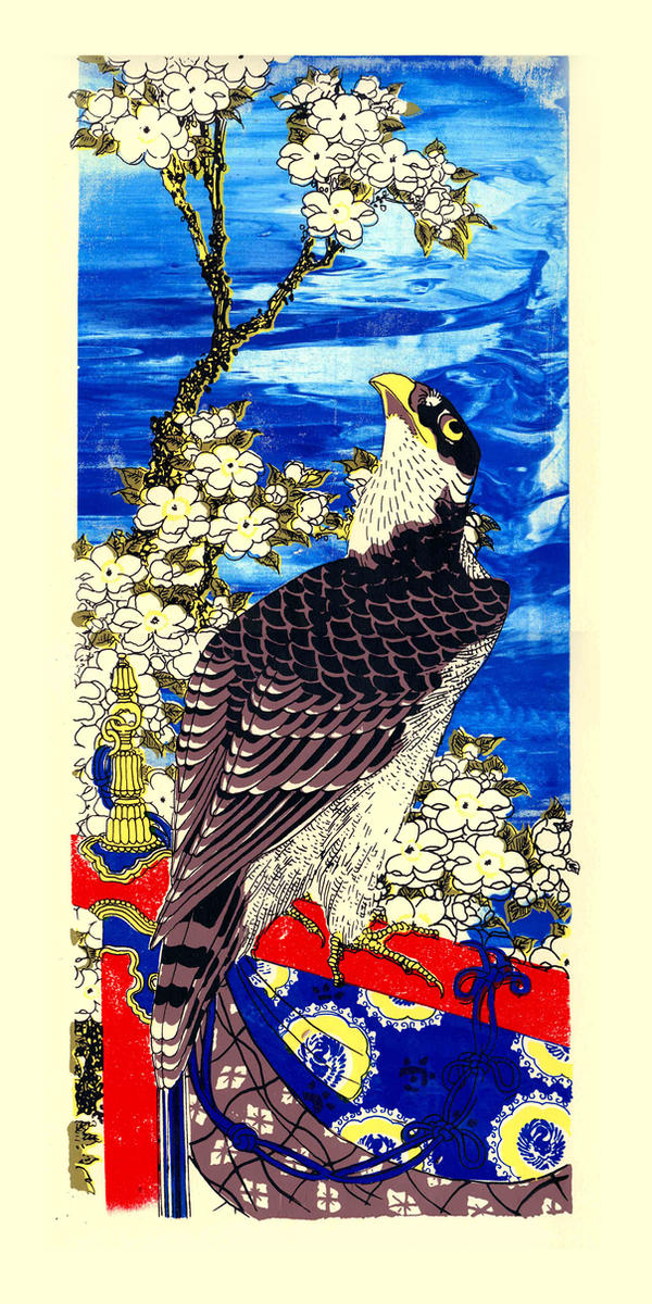 Falcon with Cherry Blooms by venatorfend