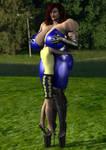 Cassie in tight blue suit 5