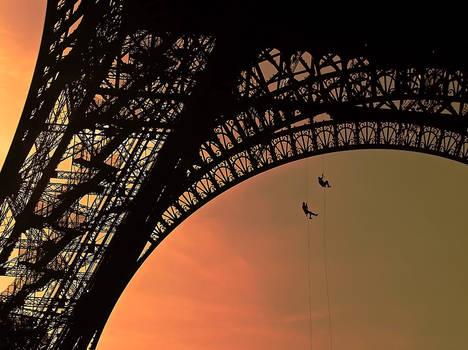 Climbing on the Eiffel Tower