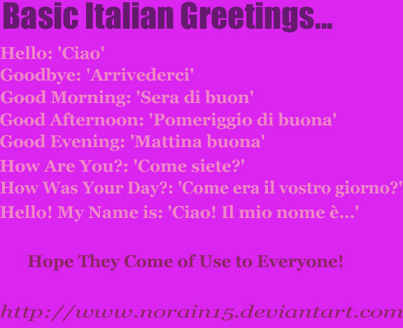 Basic italian greetings by norain15 on deviantart basic italian greetings by norain15 m4hsunfo