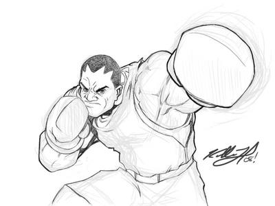 Balrog - Street Fighter sketch by kidvicious