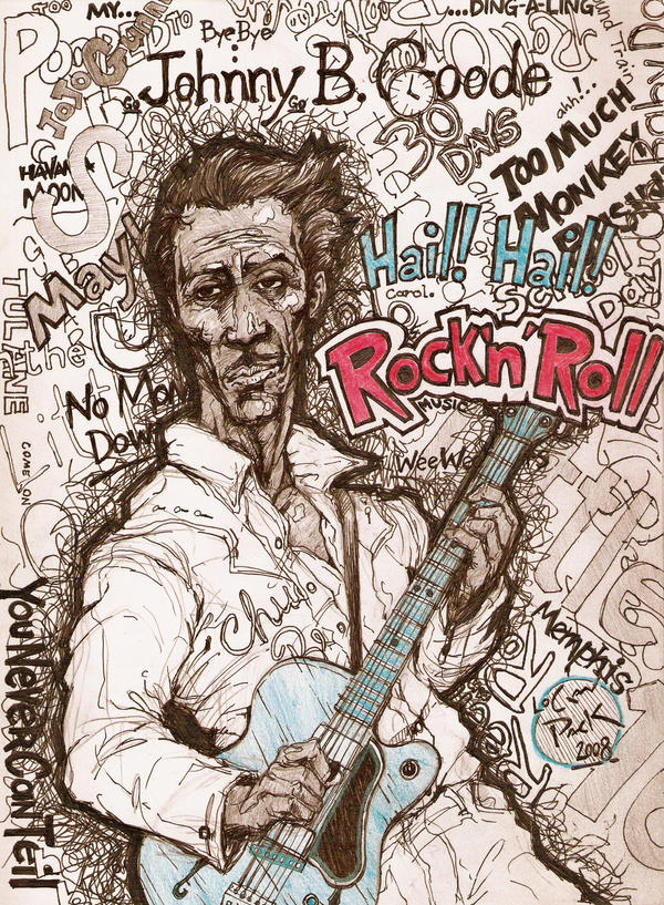 Chuck Berry by cheshirecatart