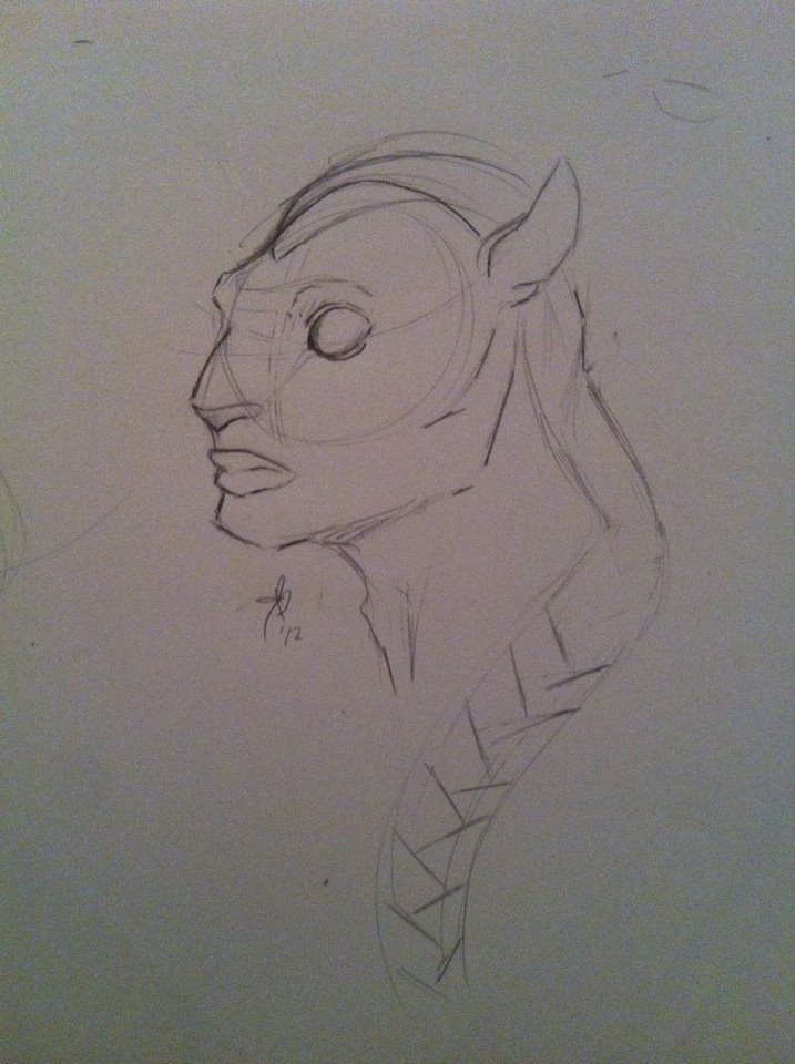 Na'vi Warrior Rough Sketch by Zetey