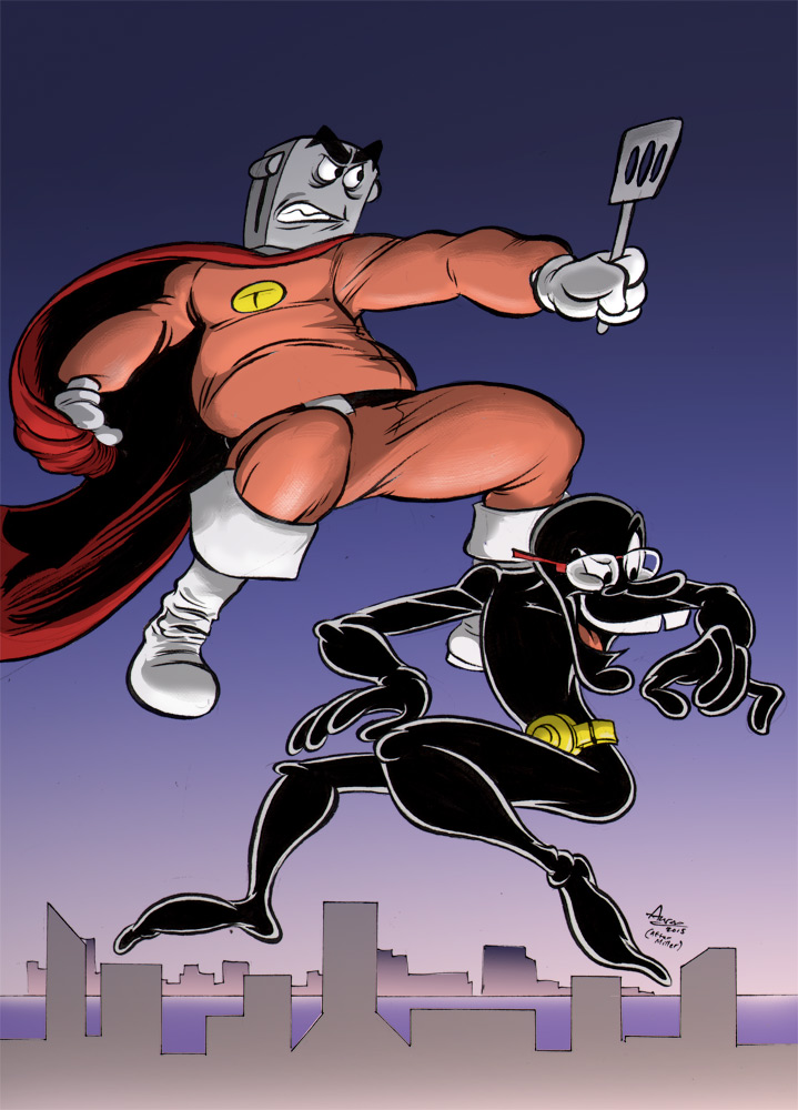 Toaster Guy and Master Ninja - Dark Knight Tribute by cartoonistaaron