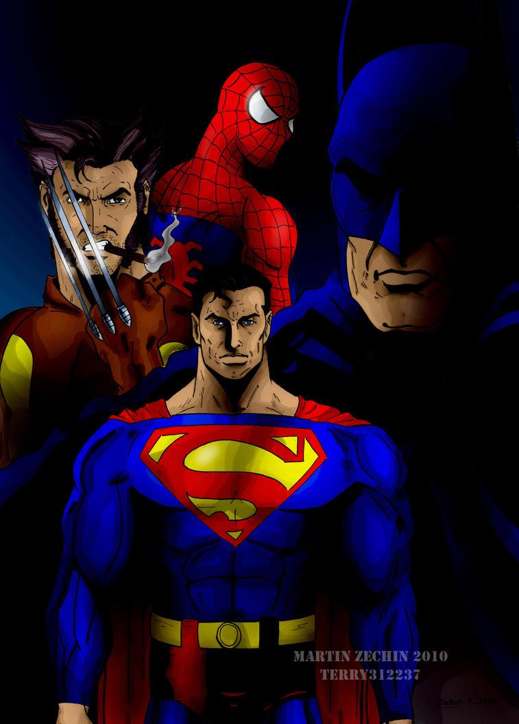 Uncategorized Batman Superman Spiderman batmansupermanspiderman and wolverine by terry312237 on deviantart terry312237