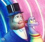 Dreamfinder and Figment in the Rainbow Corridor