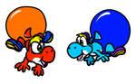 Playful yoshies and their swimpants balloons