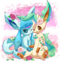 Glaceon and Leafeon by IPlatArtz