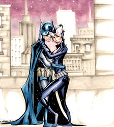 Batman and Catwoman in the Snow