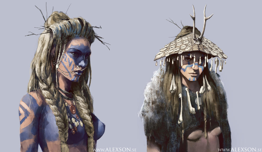 Young nordic witch concept art variations by alexson1
