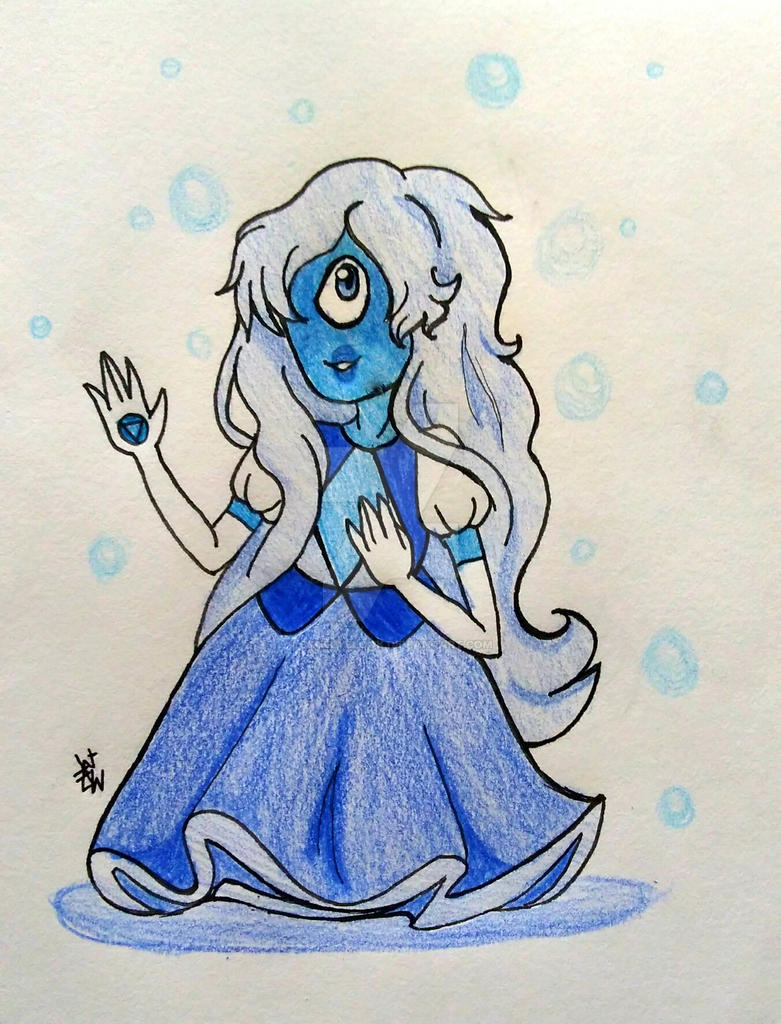 September is the month of the sapphire, so I decided to draw Sapphire from Steven Universe. Traditionally drawn, lined in ink, coloured with coloured pencils. Enjoy!