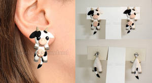 Cow clinging earrings