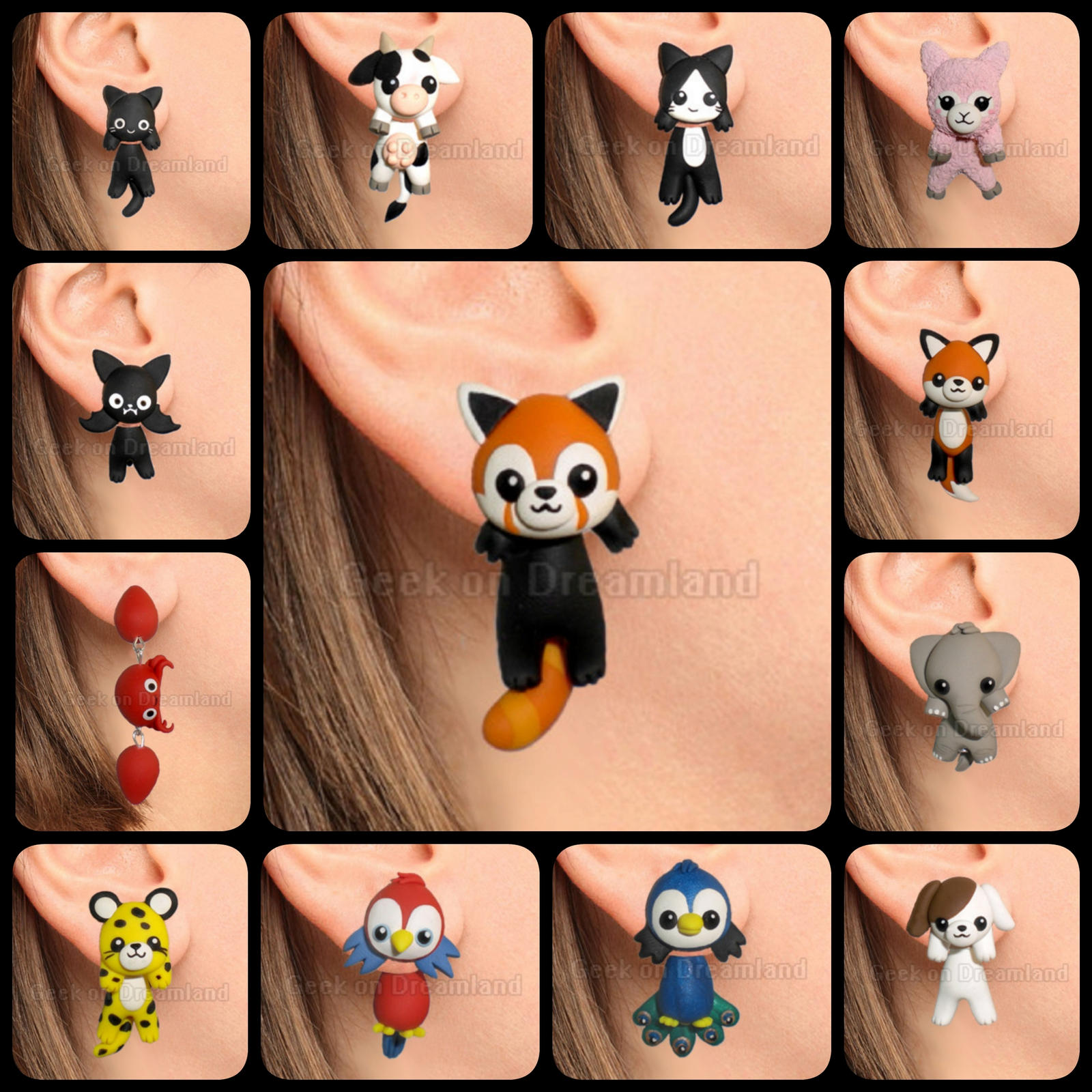 cute kawaii animals clinging earrings handmade by