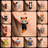 Cute kawaii animals clinging earrings handmade by GeekOnDreamland
