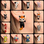 Cute kawaii animals clinging earrings handmade