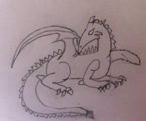 Sitting dragon by Darkstarnightwalker