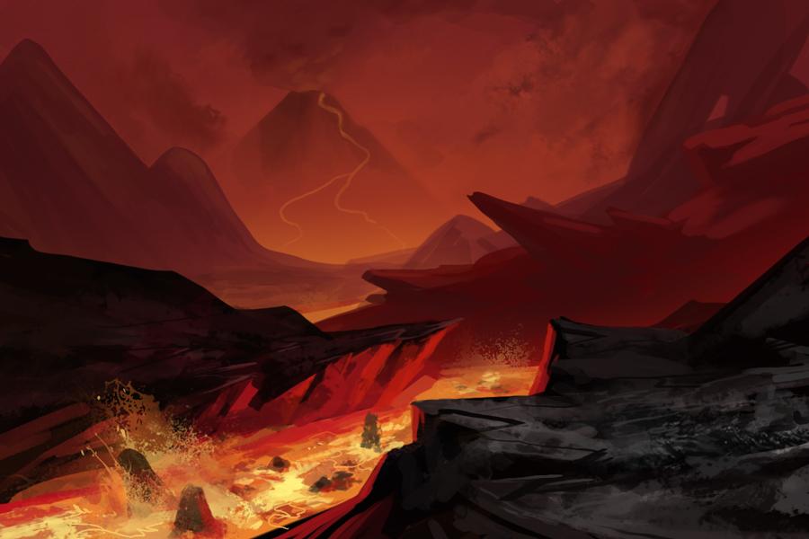 volcanic landscape fantasy