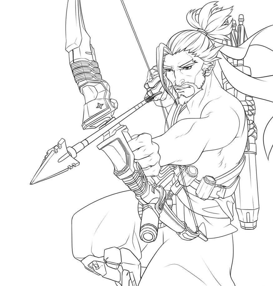 Hanzo FREE TO USE LINEART by Jellygay