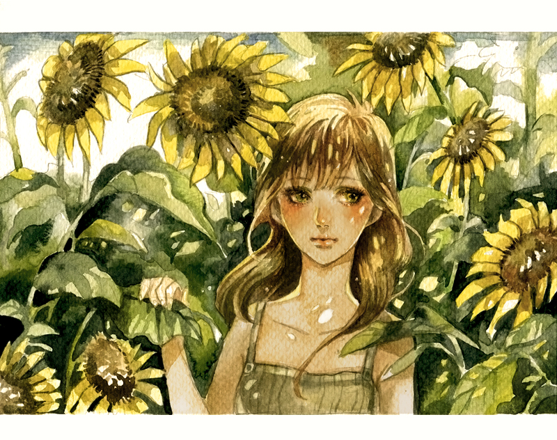 Girl and Sunflowers by Chucky-tan