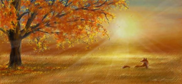 Graffiti - Autumn sunset glow by mooni