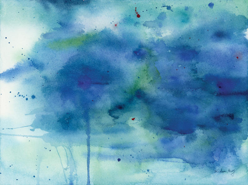 Blue Melody Ocean Abstract Watercolor By SuisaiGenki