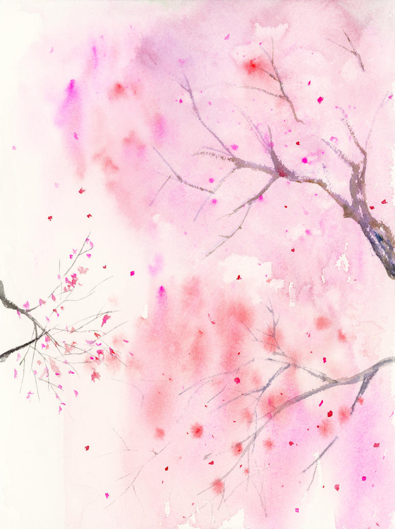 Cherry blossom abstract art watercolor painting by for How to paint abstract with watercolors