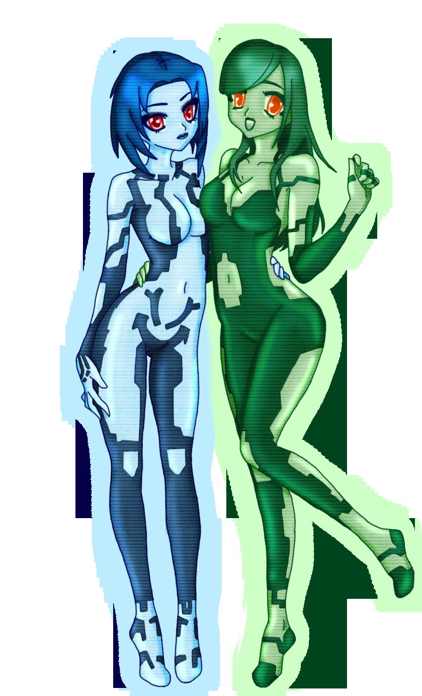 Cortana and Kalmiya by LunaARTemis-S237